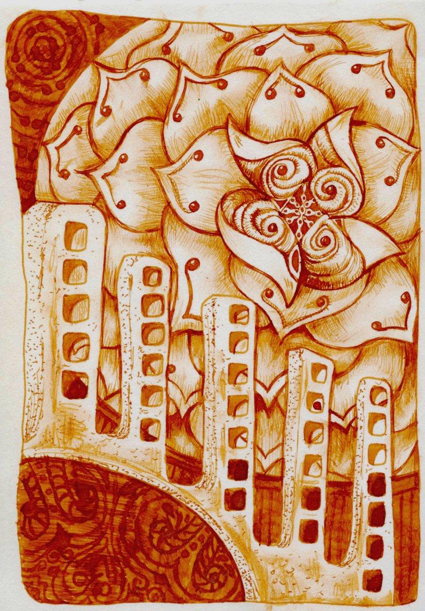 Cornaline d'Egypte J. Herbin Ink - Pen & Ink Drawing Doodlewash