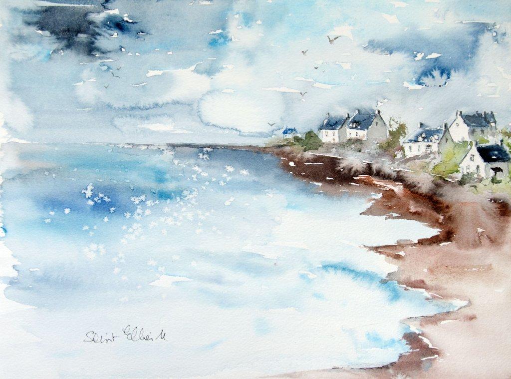 Seascape Watercolor Painting by Martine Jacquel Saint Ellier - France