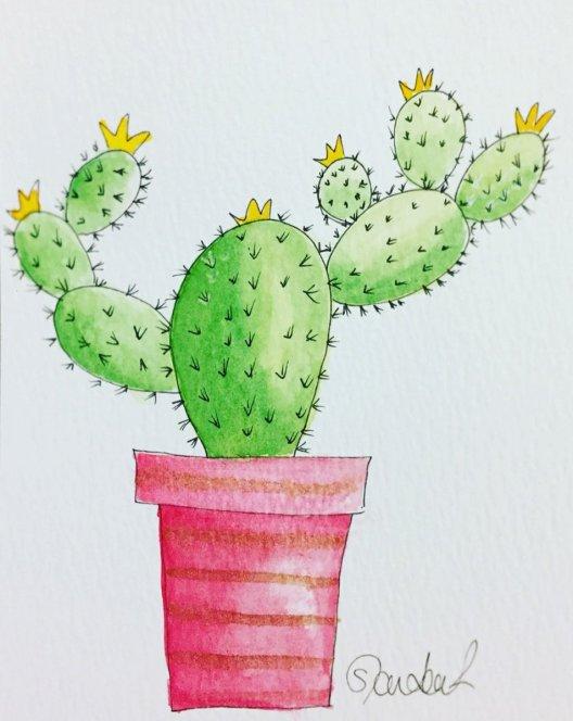 Cactus Watercolor by Sophia Czarkowski - Doodlewash