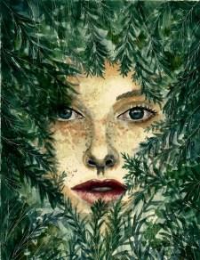 Leaf Face Woman Watercolor by Bernadette Sabatini - Doodlewash