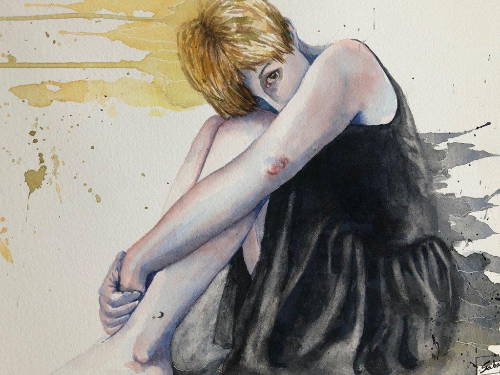 Seated Woman Watercolor by Bernadette Sabatini - Doodlewash