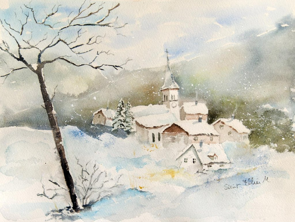 Snow Village Landscape Watercolor Painting by Martine Jacquel Saint Ellier - France