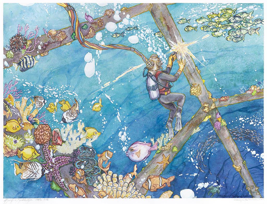 Welding In The Fantastic Sea - Watercolor by Karolina Szablewska - Doodlewash