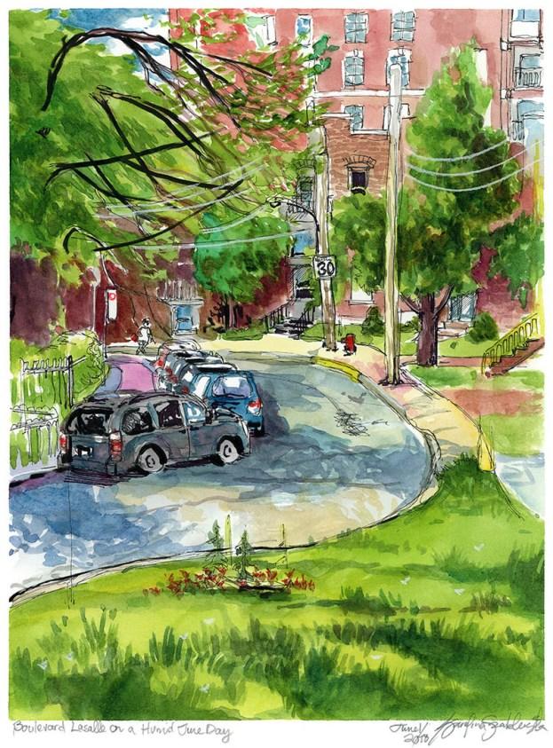 Boulevard Lasalle On A Humid June Day - Watercolor by Karolina Szablewska - Doodlewash