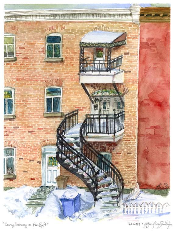 Snowy Stairway On Rue Galt - Watercolor by Karolina Szablewska - Doodlewash