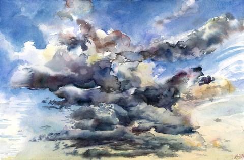 Verdun Sky - Watercolor by Karolina Szablewska - Doodlewash