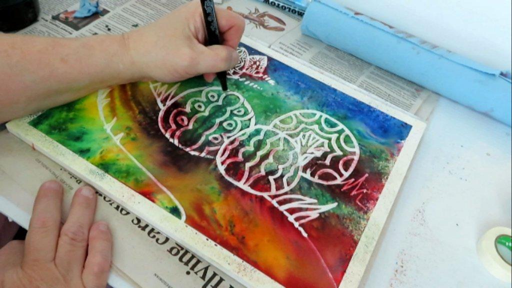 Batik Style Watercolor Painting - Adding Details - Doodlewash