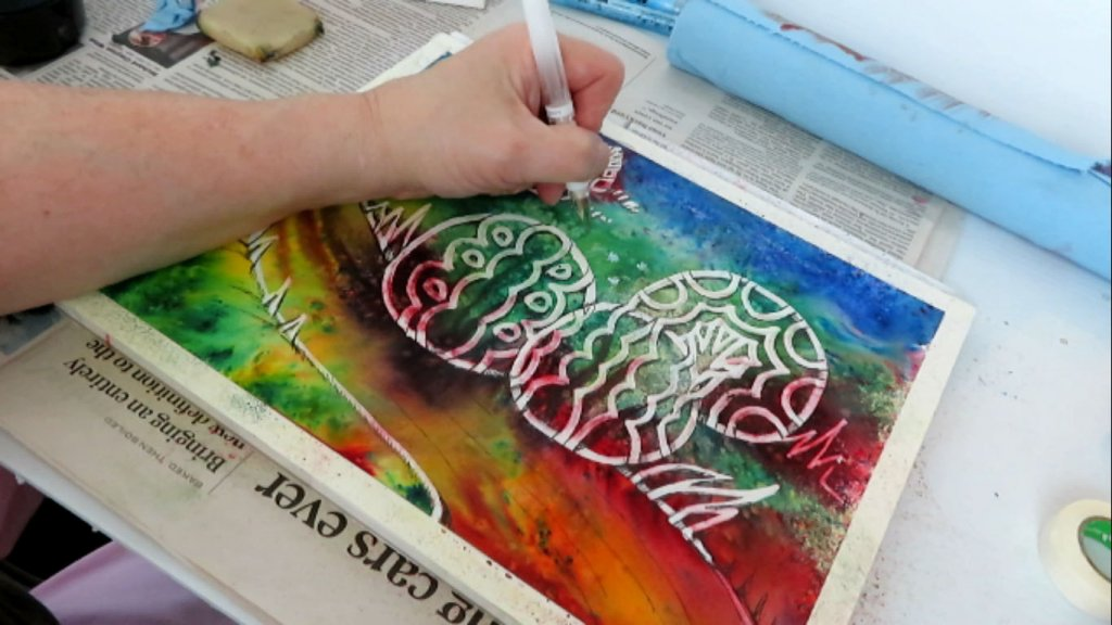 Batik Style Watercolor Painting - Final Detail - Doodlewash