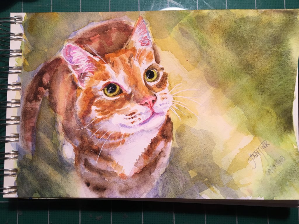Another cat. Daniel Smith Watercolors on Kilimanjaro paper, 5″ x 8″ 2018-09-06 02.40.46