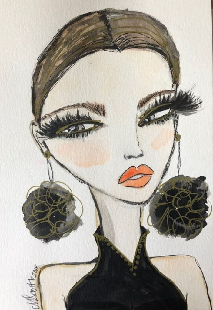 Most recently, I've been playing watercolor faces with India ink details (exaggerated lashes,