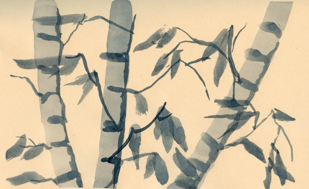 Practicing Chinese brushstrokes in my Hahnemühle Cappuccino book. I was using too large of a brush,