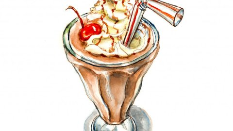 Day 12 - Chocolate Milkshake Day Watercolor - Doodlewash