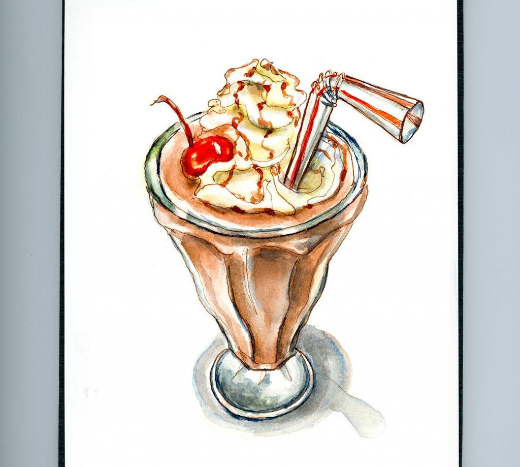 Day 12 - Chocolate Milkshake Day Watercolor - Doodlewash