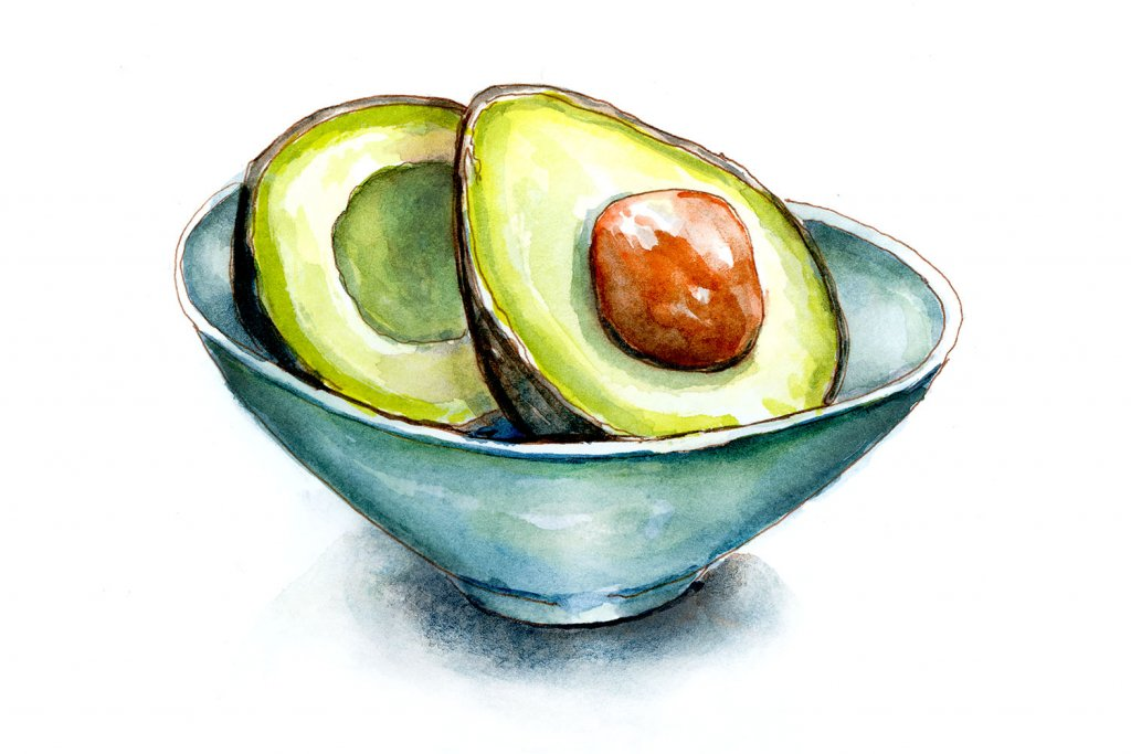 Day 16 - Guacamole Day Avocados In Bowl Watercolor - Doodlewash