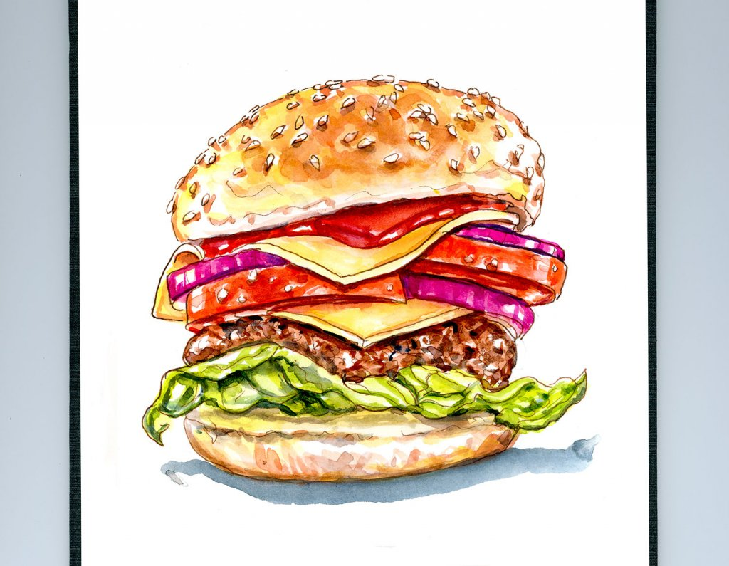 Day 18 - Cheesburger Day Watercolor - Doodlewash