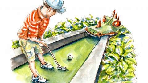 Day 21 - Miniature Golf Day Watercolor - Doodlewash