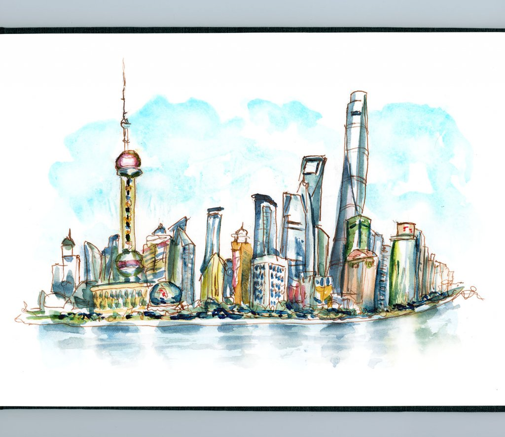 Day 3 - Skyscraper Day Shanghai Skyline Watercolor - Doodlewash