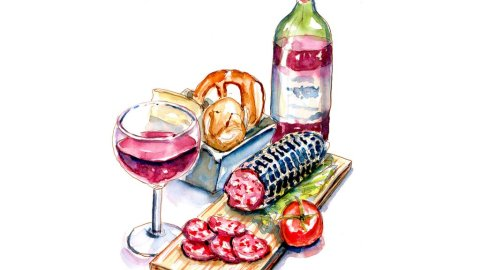 Day 7 - National Salami Day Wine Appetizer Watercolor - Doodlewash