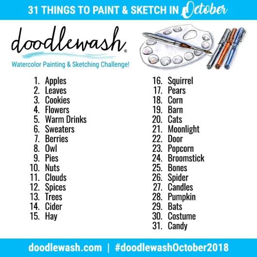 Inktober 2018 Prompts Doodlewash October Art Challenge Prompts