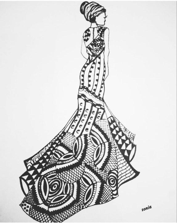 Drawing by Sonia Dutta - Woman Dress - Doodlewash