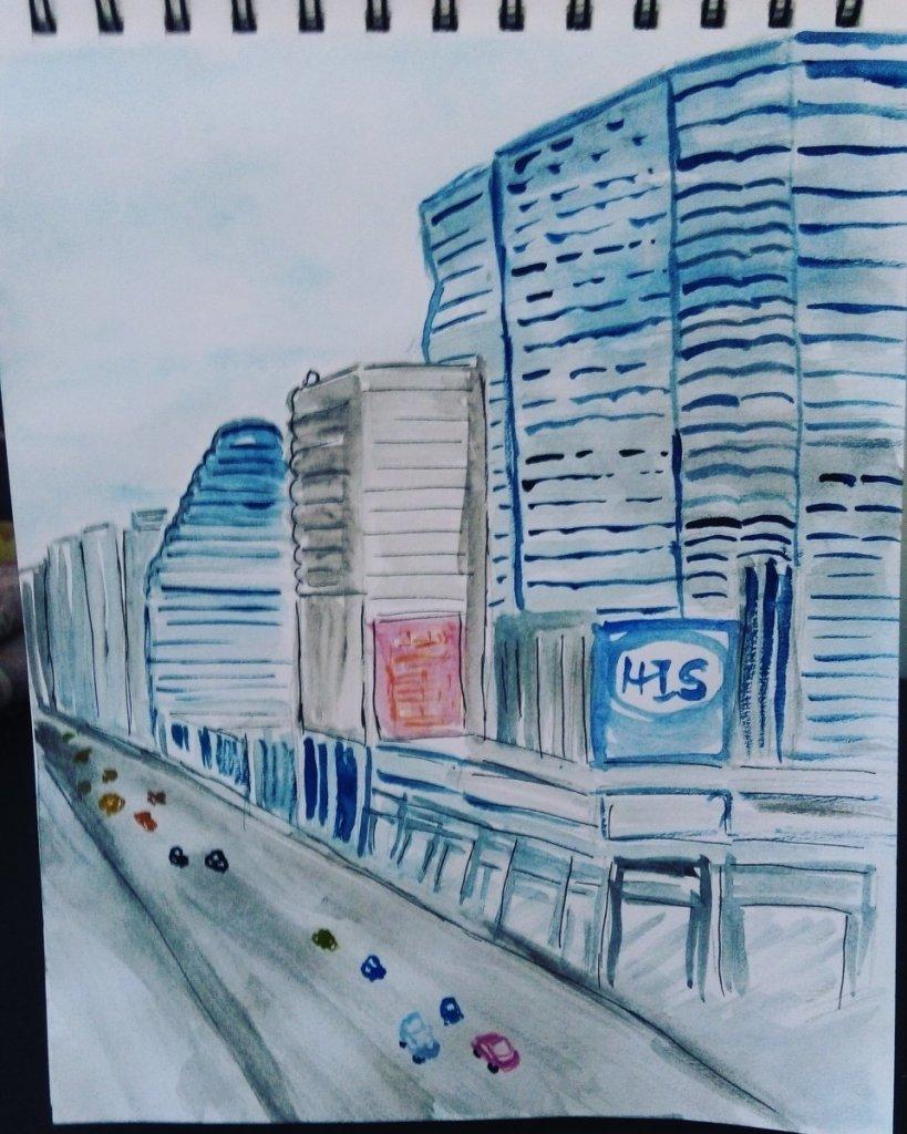 #day3 #prompt #skyscraperday #Bangkok #doodlewashseptember2018 #worldwatercolorgroup IMG_20180903_11