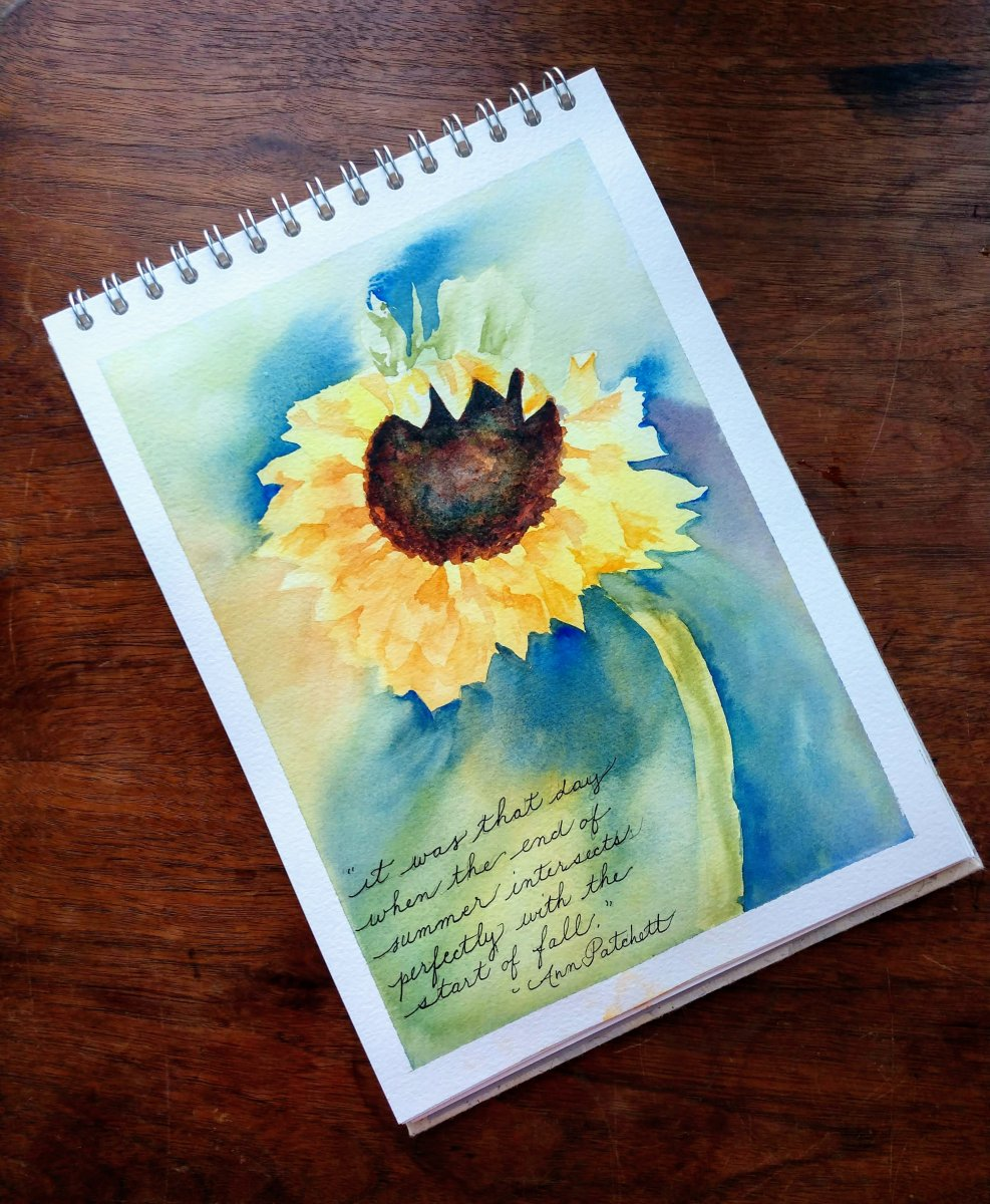 Pink Pig Watercolour Sketchbook Painting Example Sunflower