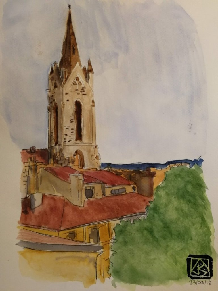 a bowl of punch for the twentieth day of september, and a church, Saint Jean de Malte in aix en Prov