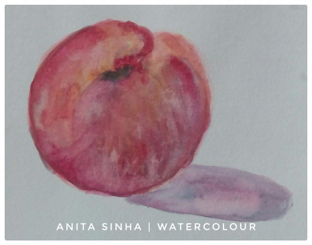 #peach #fruit study #doodlewash #WorldWatercolorGroup IMG_20180926_094412_714-01