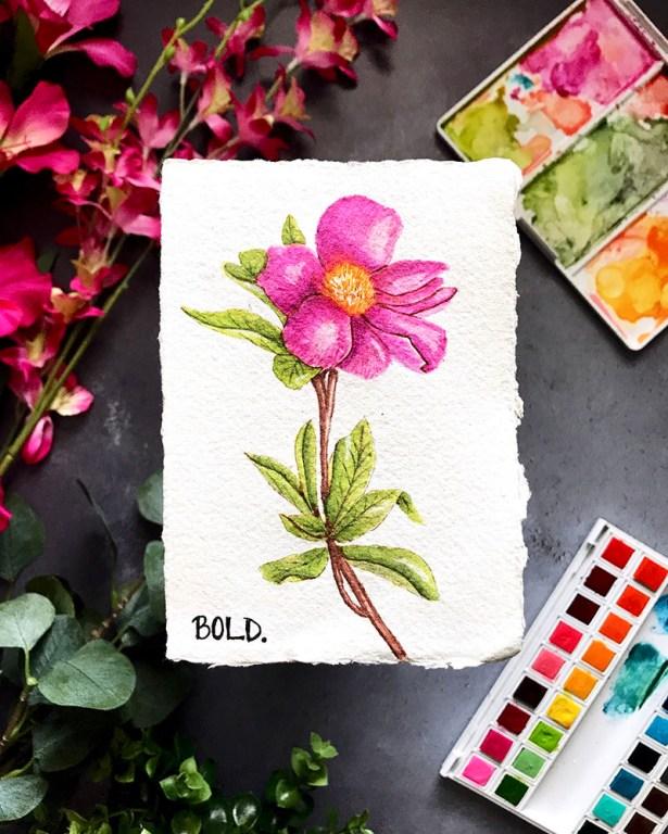 Bold Flower Watercolor by Rubeena Ianigro - Doodlewash