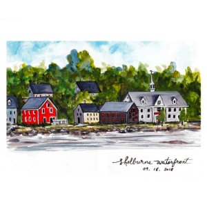 Just back from a week-long camping trip. A quick line-and-wash sketch of Shelburne's waterfron