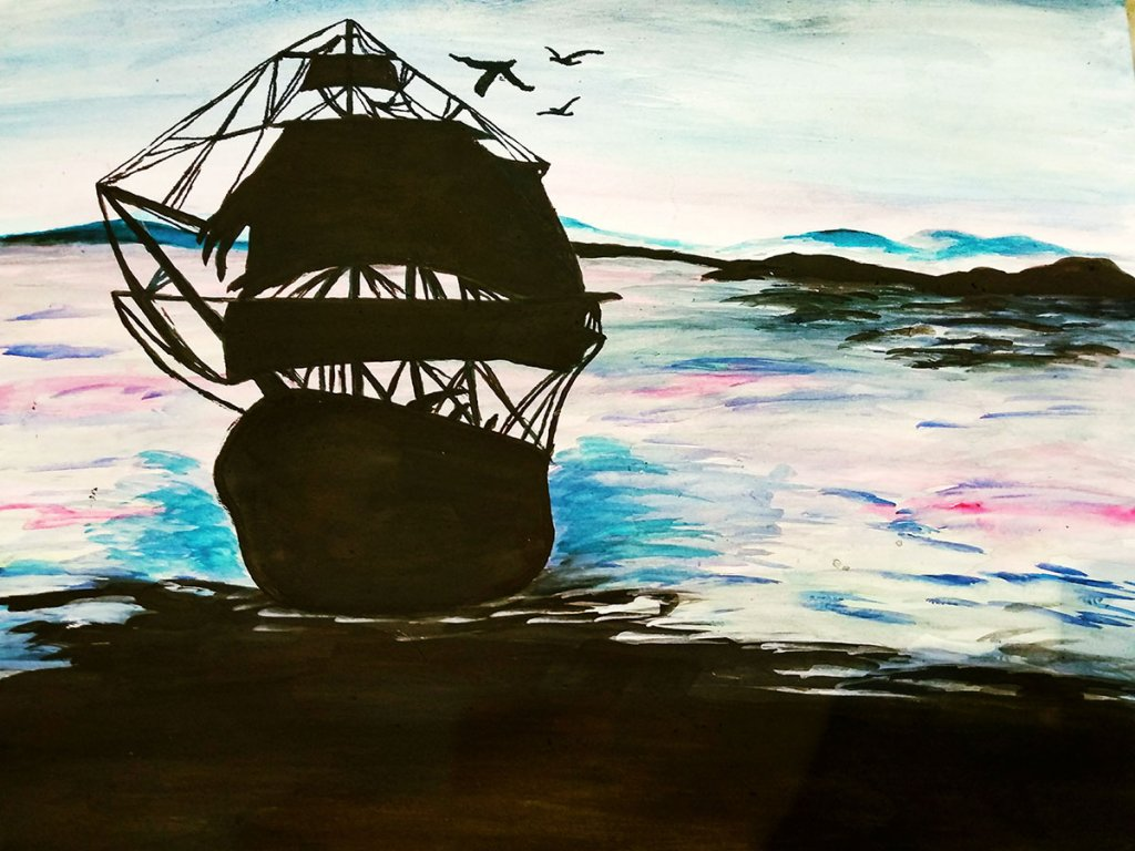 Watercolor Boat Silhouette by Sonia Dutta - Doodlewash