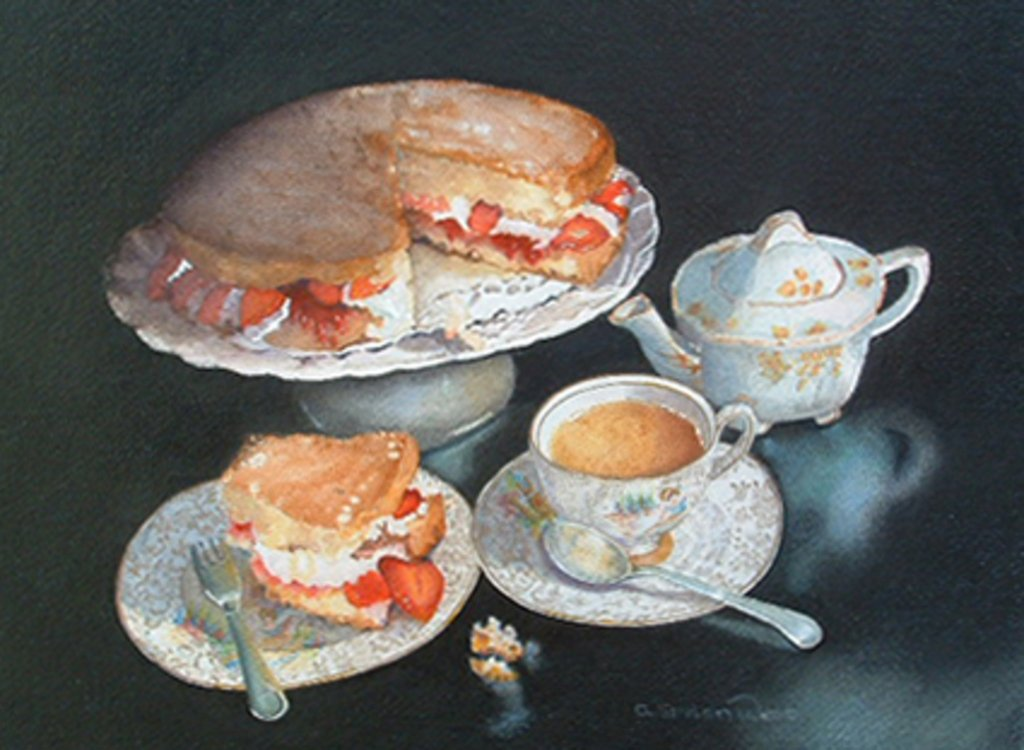 Afternoon Tea Watercolor Painting by Angela Emsen-West