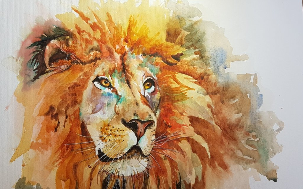 Lion Watercolor Painting by Angela Emsen-West