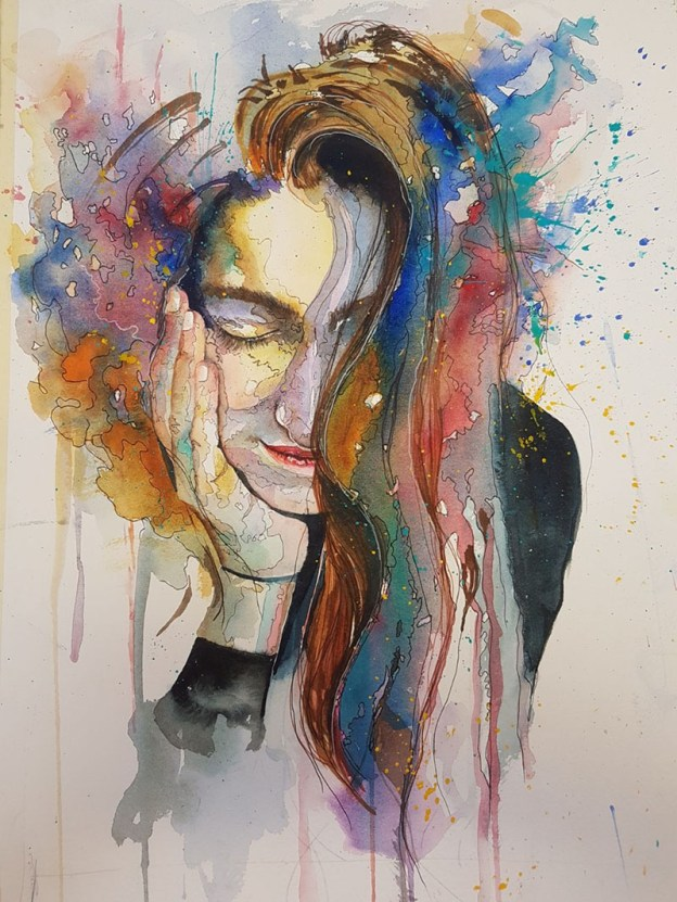 Portrait Of A Woman Watercolor Painting by Angela Emsen-West