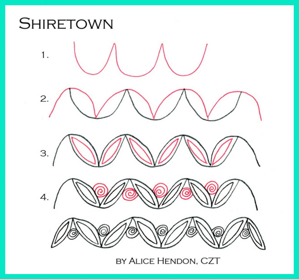 Tangle Art Step by Step Example - Shiretown by Alice Hendon - Doodlewash®