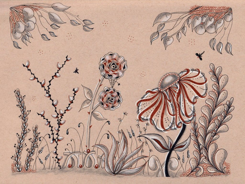 Tangle Art Toned Paper Example by Alice Hendon - Doodlewash®