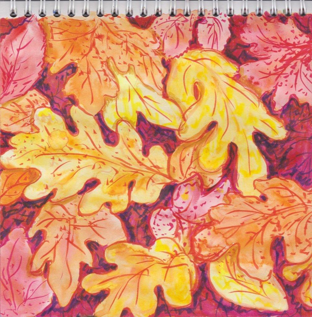 Leaves. Watercolor sketch. #doodlewashOctober2018 #WorldWatercolorGroup Скан_20181002