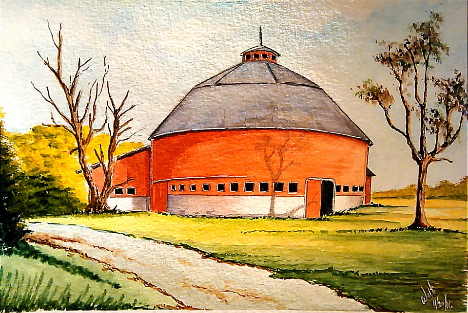 Round Barn Watercolor Painting by Walt Pierluissi - Doodlewash