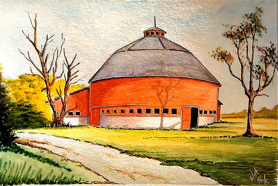 Round Barn Watercolor Painting by Walt Pierluissi - Doodlewash
