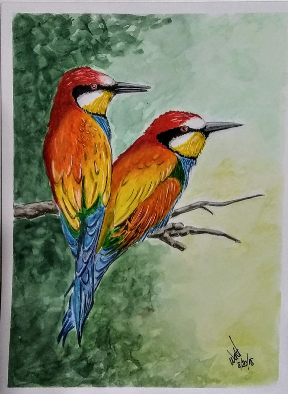 European Bee Eater Birds Watercolor Painting by Walt Pierluissi - Doodlewash