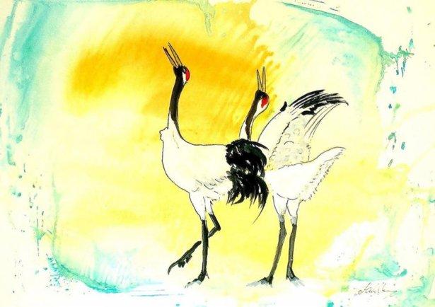 Dance Of The Cranes Watercolor by Thomas Mühlbauer - Doodlewash