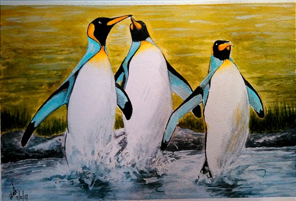 Penguins Watercolor Painting by Walt Pierluissi - Doodlewash