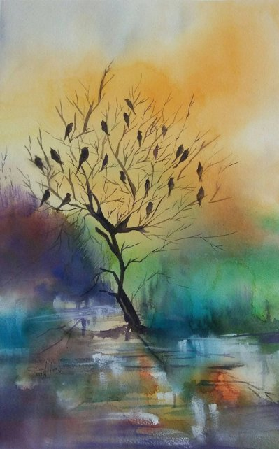 Watercolor Landscape Painting With Birds by Lalita Sharma - Doodlewash