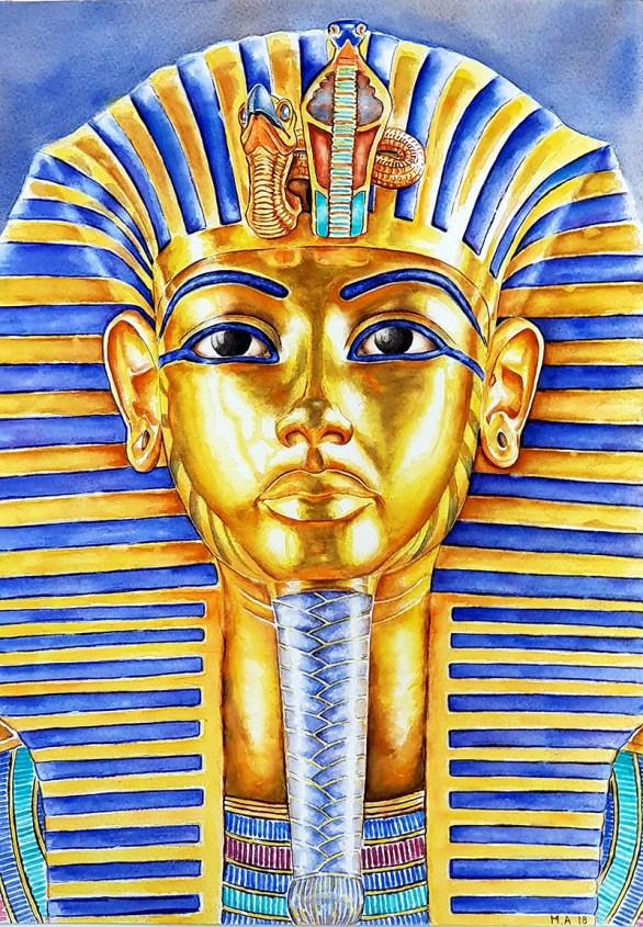 Tutankhamun King Tut Watercolor Painting by Martin Azzopardi - Doodlewash
