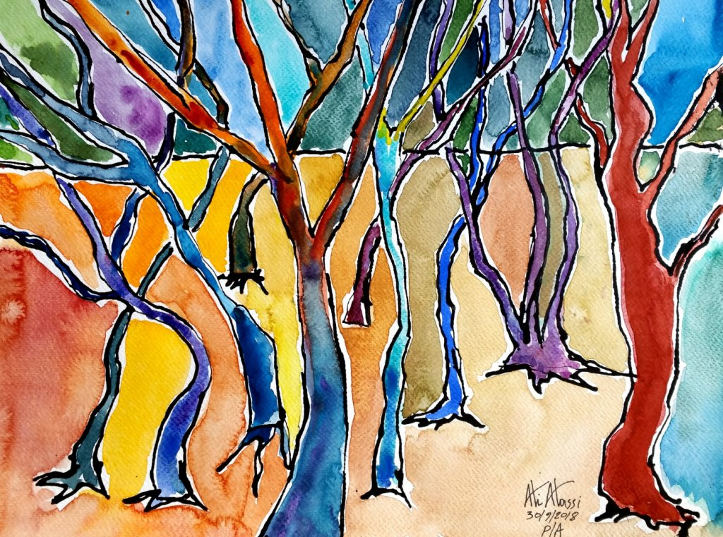 tree trunks, Ink, Daniel Smith watercolors on cold press paper, 42 x 30 cm 20181001_082602 (Large)