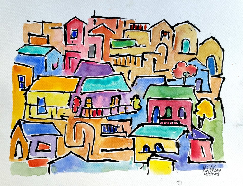 Cyprus villages, Ink, Daniel Smith watercolors on cold press paper, 42 x 30 cm 20181001_082615 (Larg