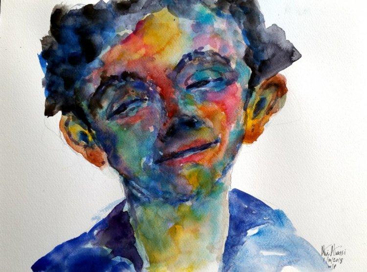 face #watercolor #watercolorpainting #watercolorart #watercolor_art #aquarelle on cold pressed paper