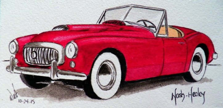 Classic Car Watercolor Painting by Walt Pierluissi - Doodlewash