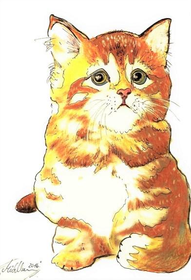 Cat Watercolor by Thomas Mühlbauer - Doodlewash