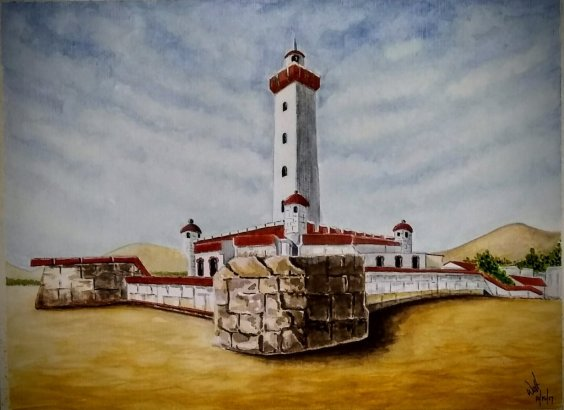 La Serena Lighthouse Chile Watercolor Painting by Walt Pierluissi - Doodlewash